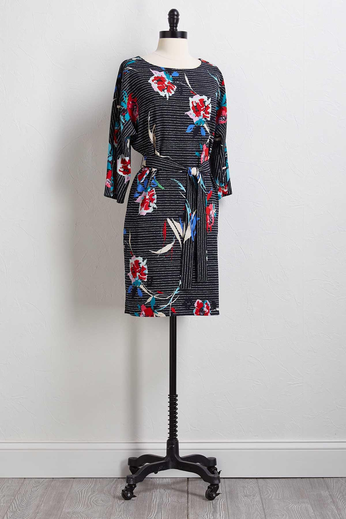 Dotted Floral Shift Dress