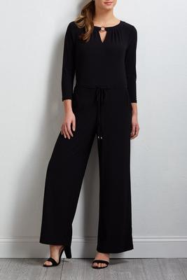 metal ring embellished knit jumpsuit