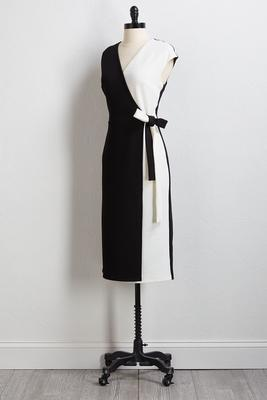 black white faux wrap dress
