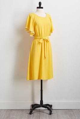 golden flutter sleeve shift dress