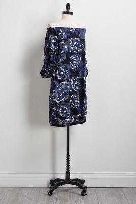 navy puff floral dress