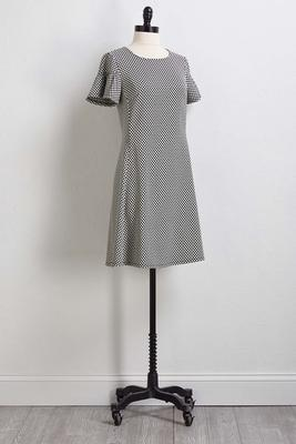 dotted jacquard knit dress