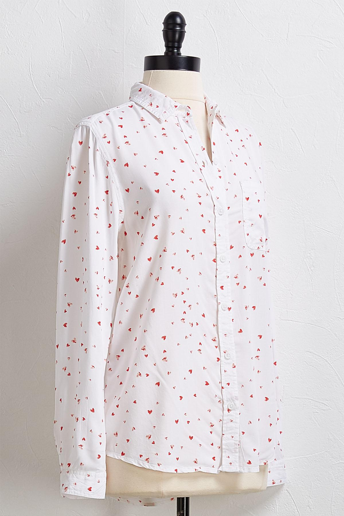 Scattered Heart Button Down Shirt