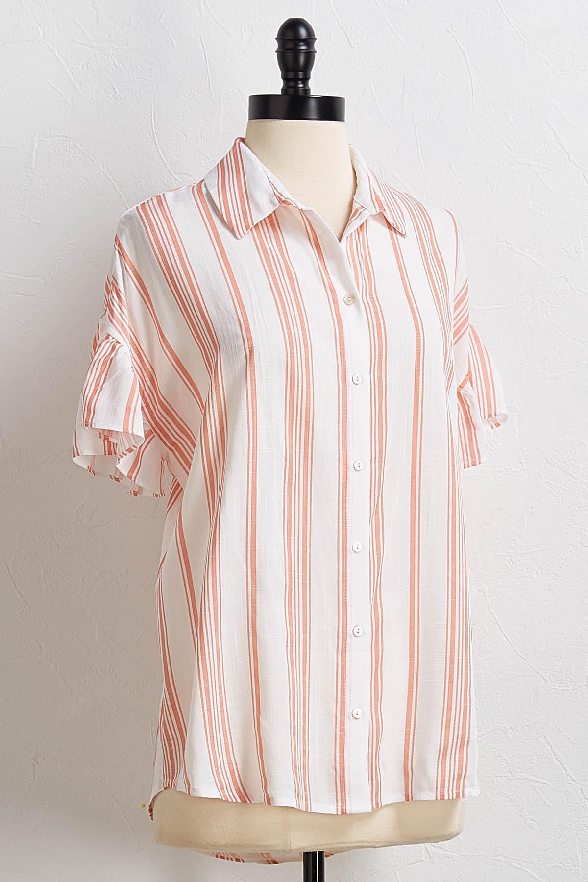 Striped Ruffled Sleeve Shirt