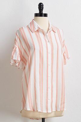 striped ruffled sleeve shirt