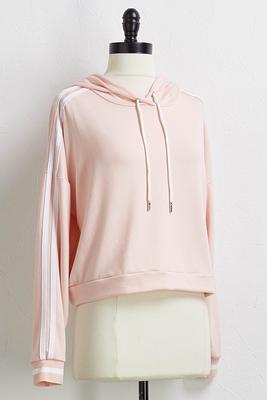 side stripe cropped hoodie