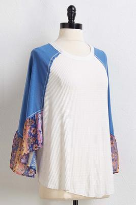 patchwork flare sleeve top