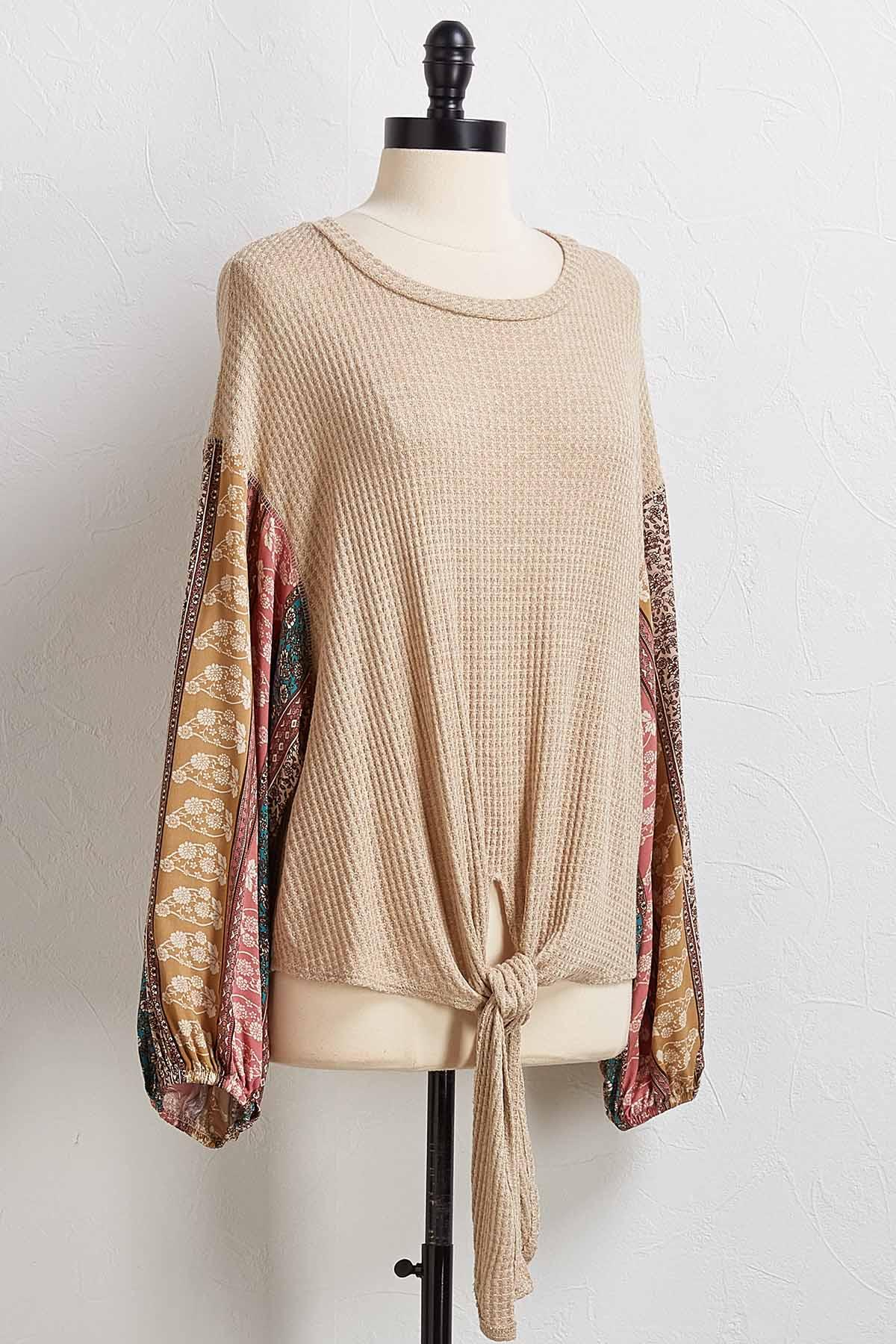 Waffle Floral Sleeve Top