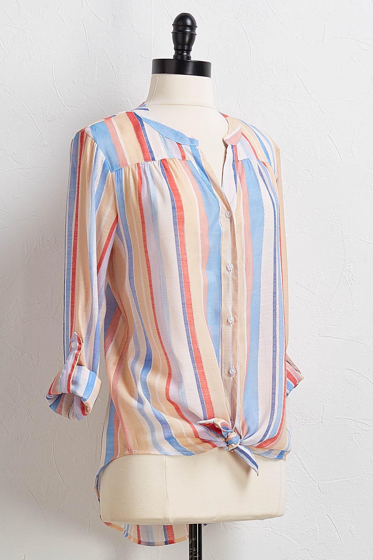 Stripe Tie Front Top