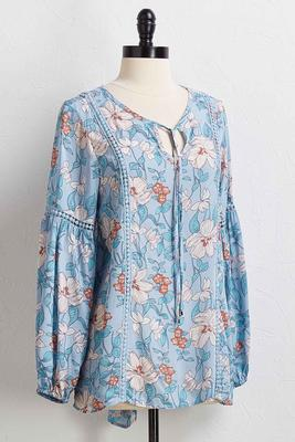 blue floral poet top