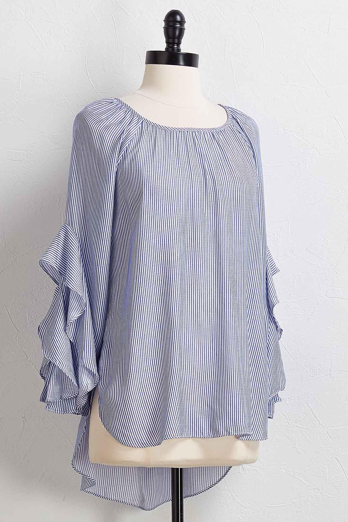 Blue Stripe Ruffled Sleeve Top