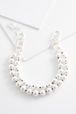 linked layered pearl necklace