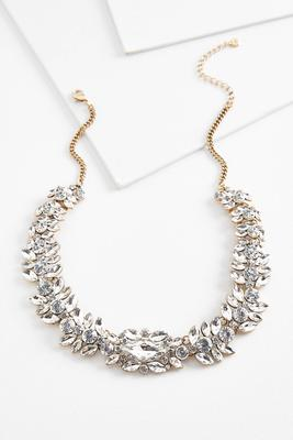 rhinestone statement bib necklace
