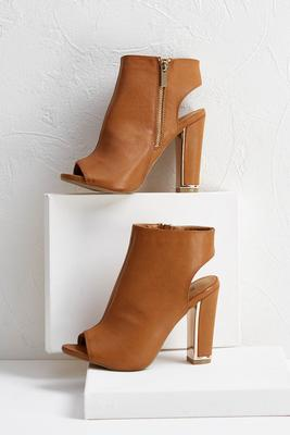 metal heel faux leather shooties