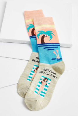 resting beach face socks