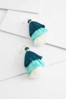 triple tiered tassel earrings