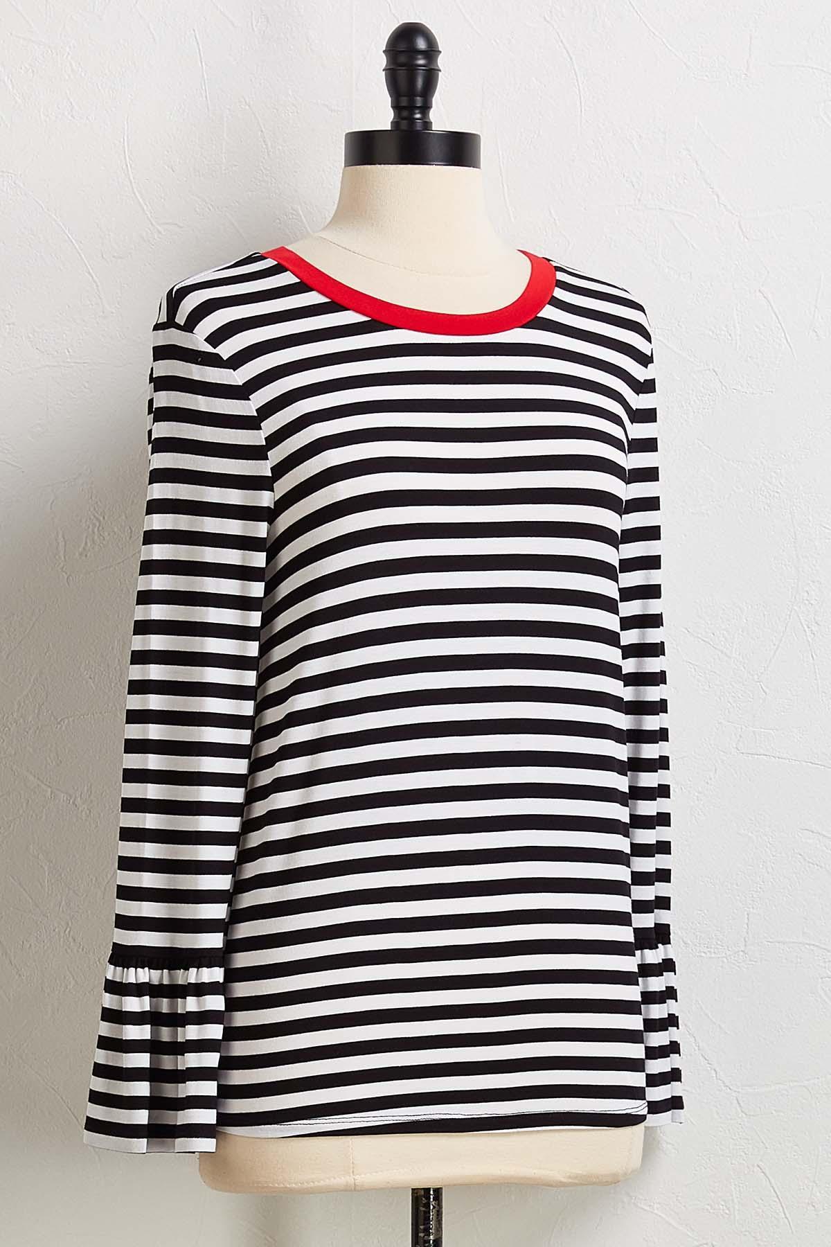 Stripe Flutter Sleeve Top