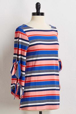 stripe tie sleeve top