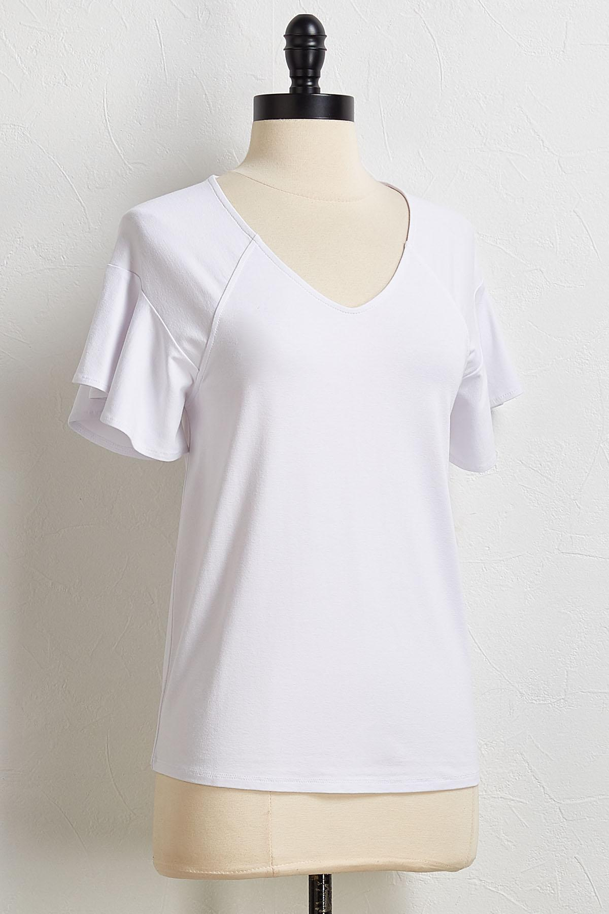 Solid Flutter Sleeve Tee