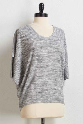 waffle knit high-low top