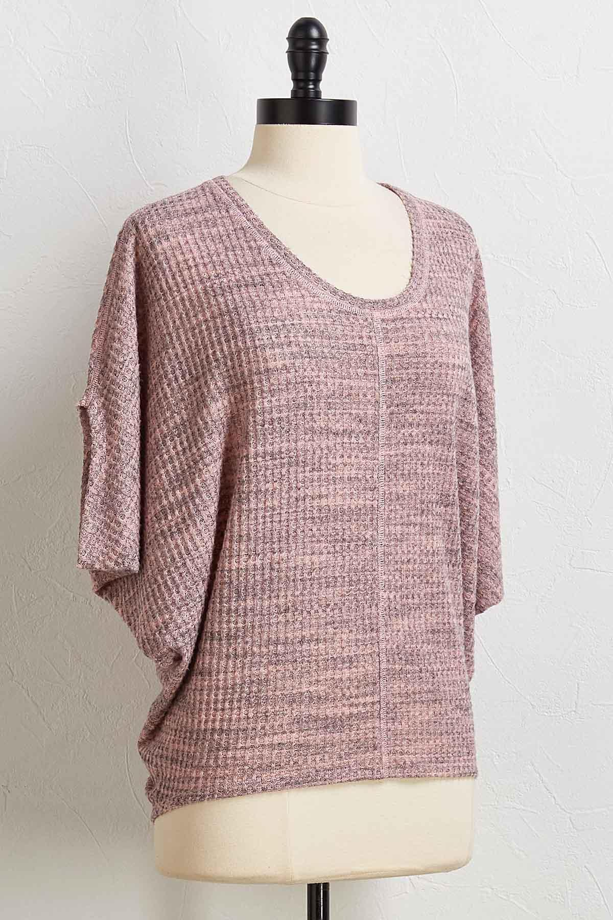 Blush Waffle Knit High- Low Top