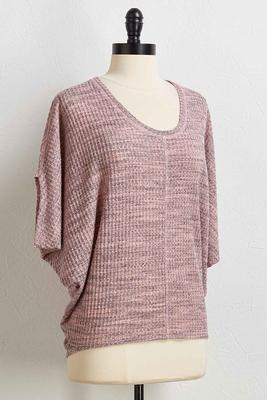 blush waffle knit high-low top