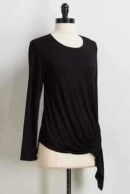 gathered hem pullover top