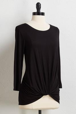 black twisted hem top