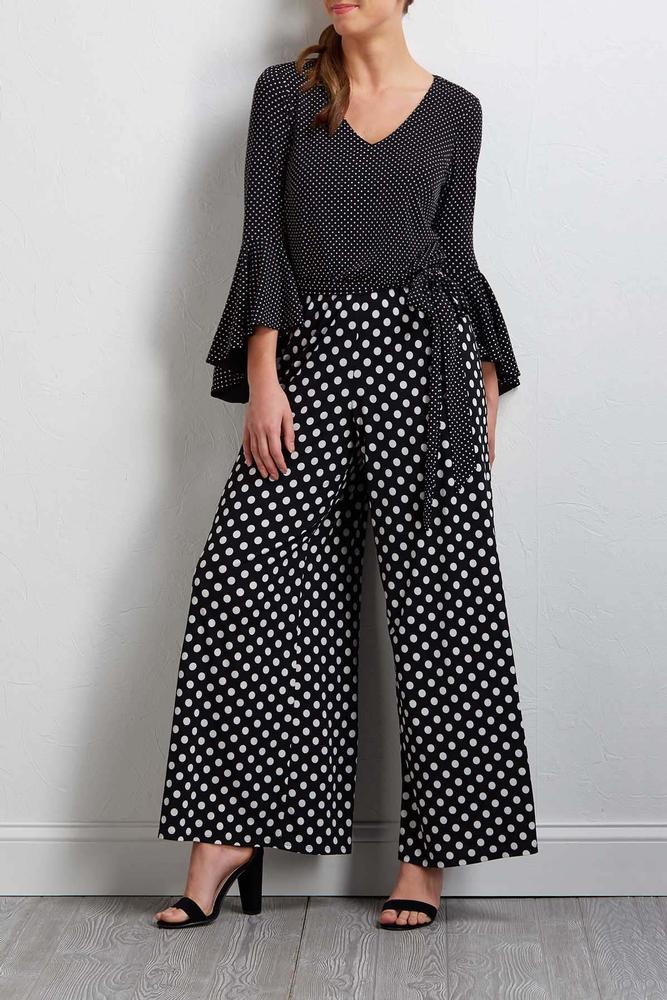 Dotted Bell Sleeve Jumpsuit