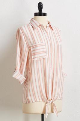 blush stripe tie front shirt