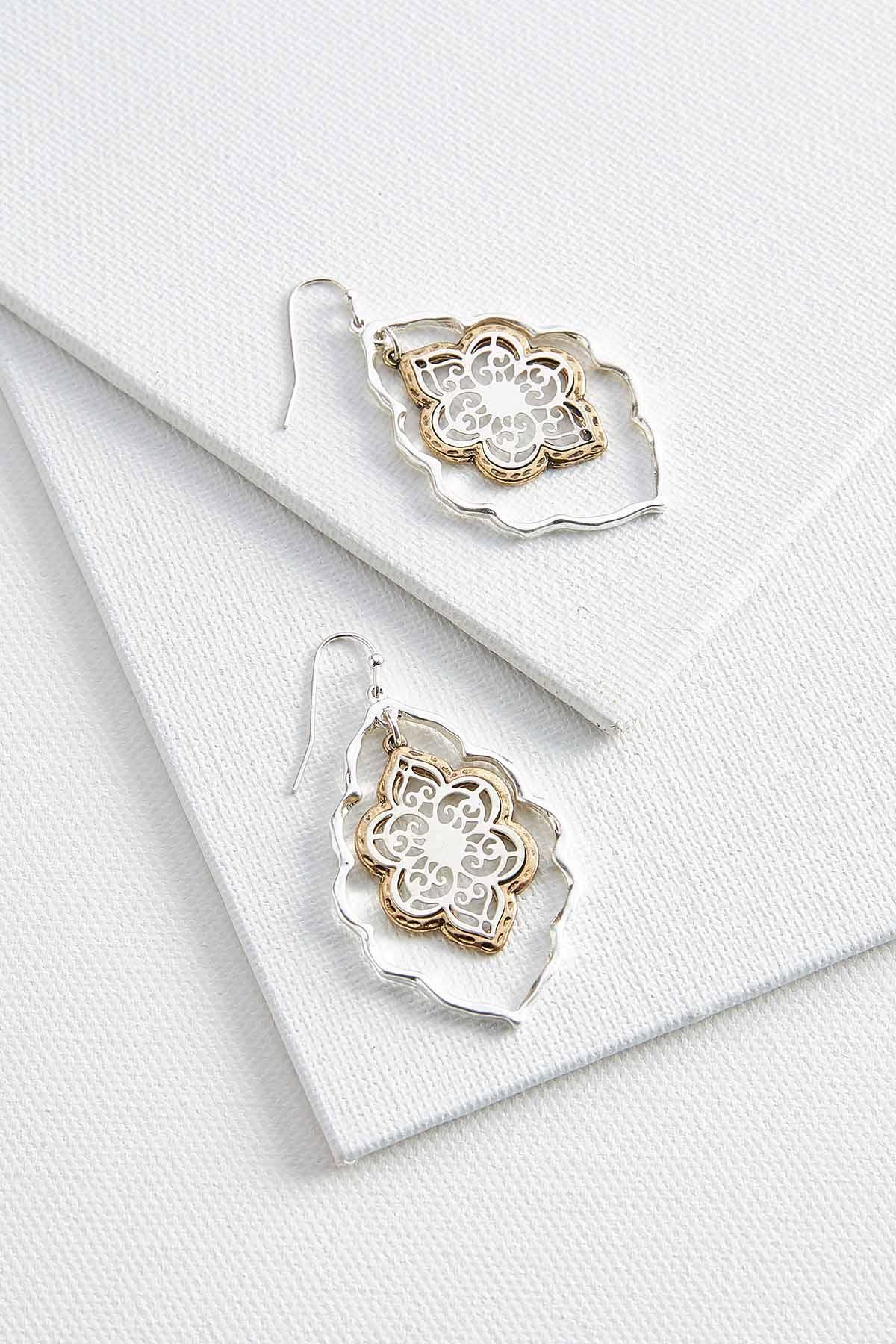 Two- Toned Flower Earrings