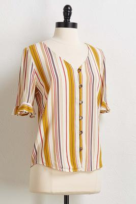 stripe ruffled sleeve shirt