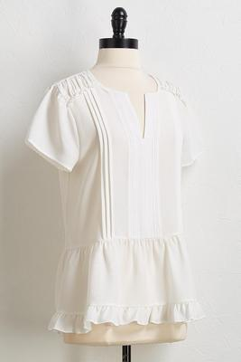 crepe ruffled trim top
