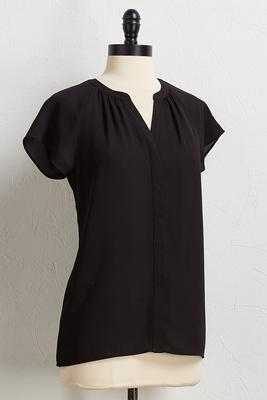 solid pleated v-neck top