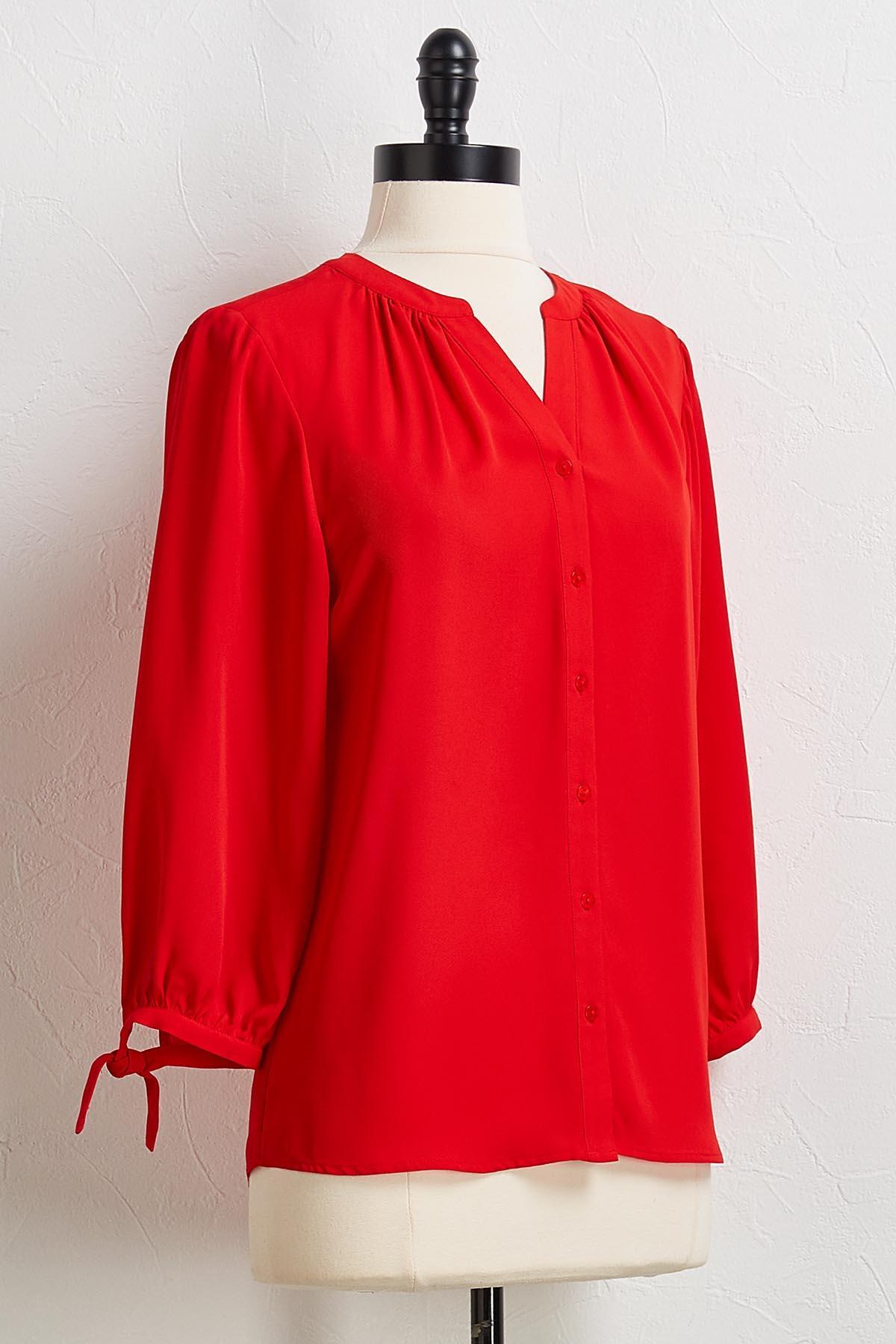 Red Tie Sleeve Top