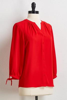 red tie sleeve top