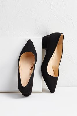 low faux suede pumps
