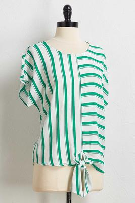 green mixed stripe top