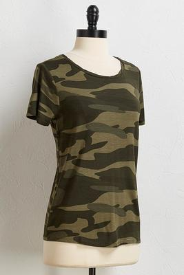 camo scoop neck tee