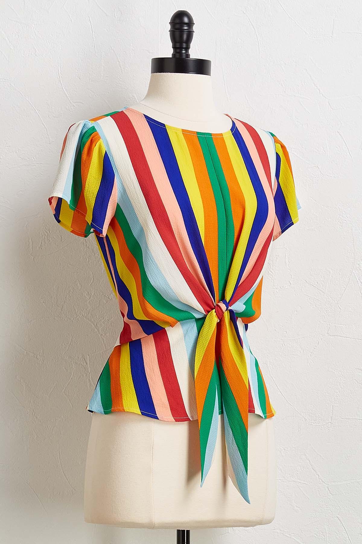 Rainbow Tie Front Top