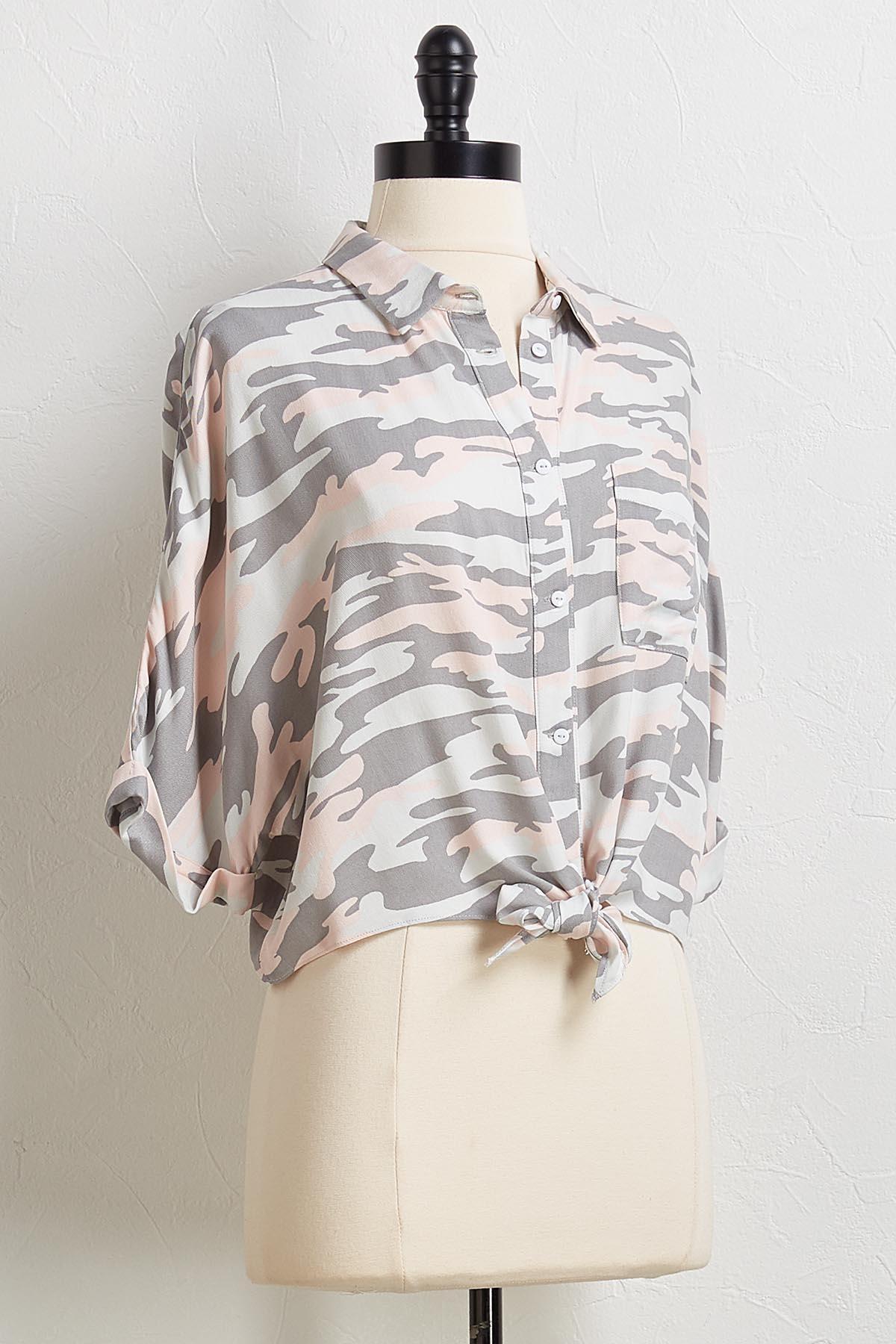 Camo Tie Waist Shirt