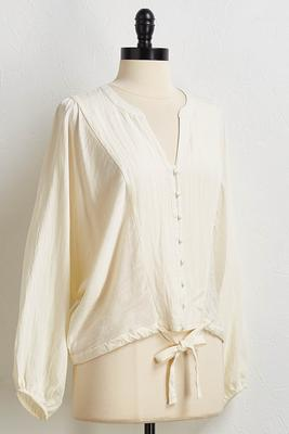 natural tie hem top