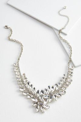 rhinestone cluster bib necklace