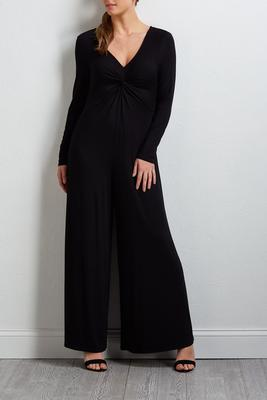 knotted v-neck jumpsuit