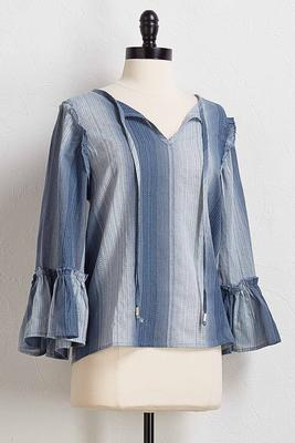 stripe ruffled trim top