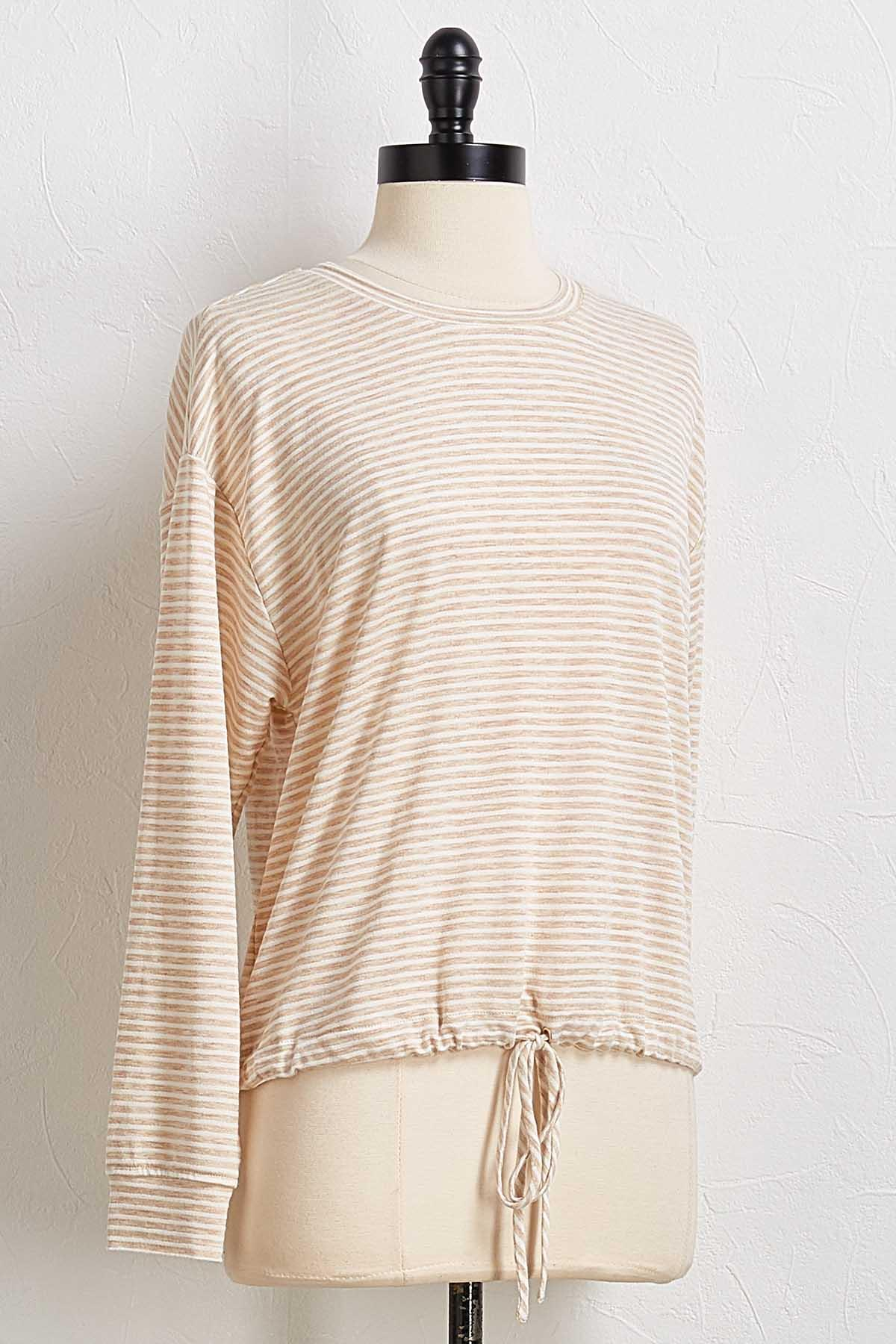 Stripe Drawstring Waist Top