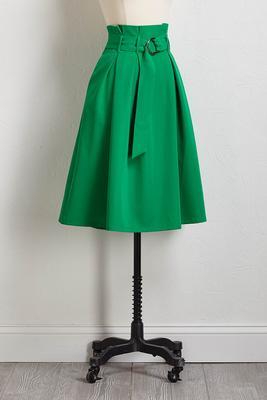 belted paper-bag skirt