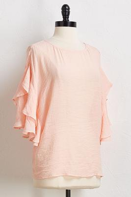 ruffled button back top