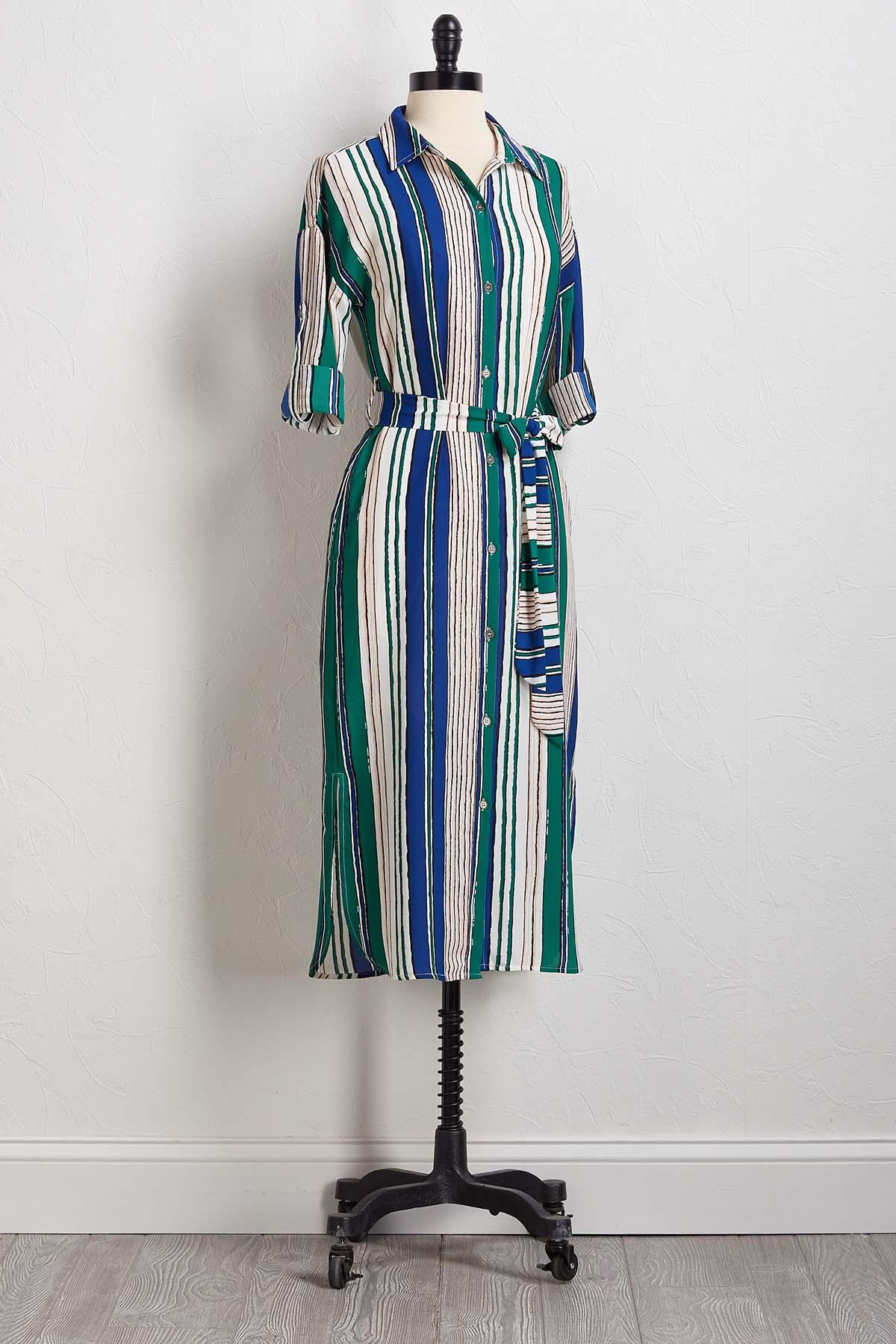 Brushed Stripe Shirt Dress