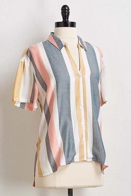neutral stripe boyfriend shirt